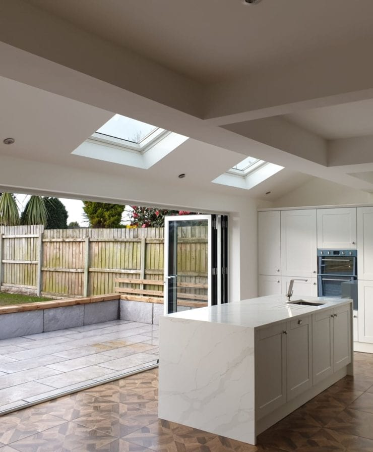 Open bifold doors from kitchen extension in Liverpool