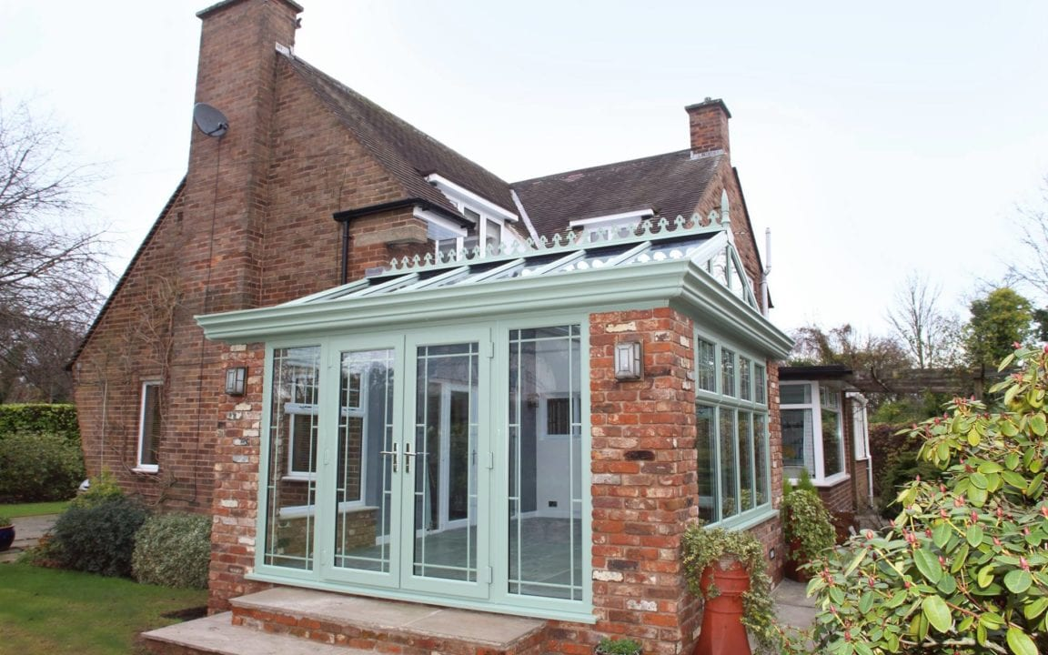 Finished orangery with french doors in Liverpool.