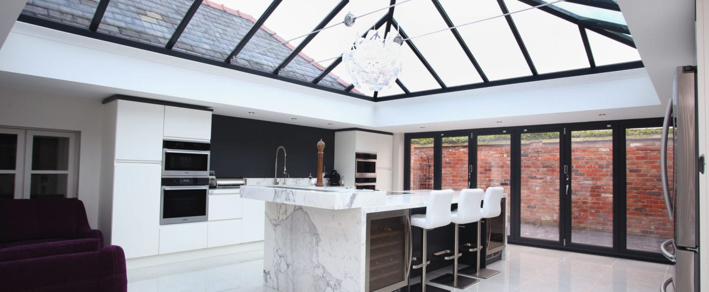 Home extension with roof lantern in Liverpool
