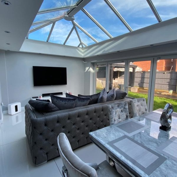 Orangery living and dining room extension with bifold doors in Liverpool