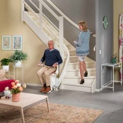 image of a curved stairlift