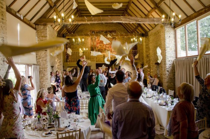 Singing waiters napkin throwing at an Event