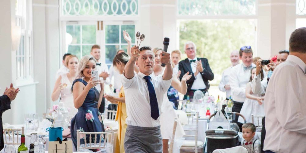 singing waiter with the microphone