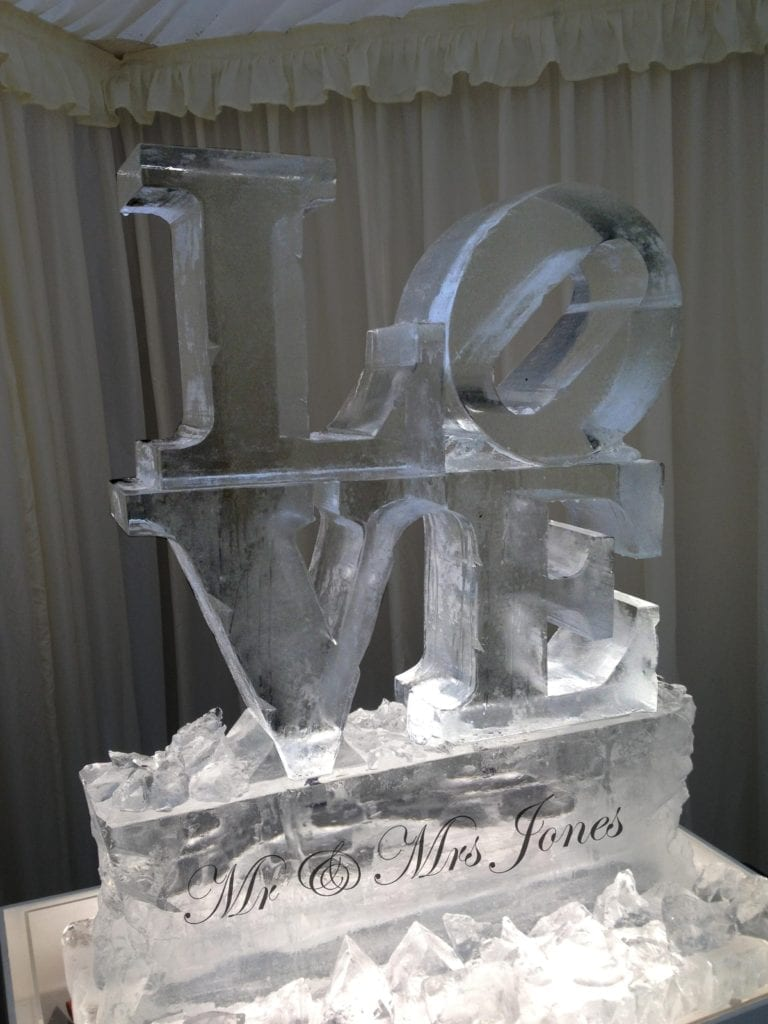 Love wedding ice sculpture with name engraving
