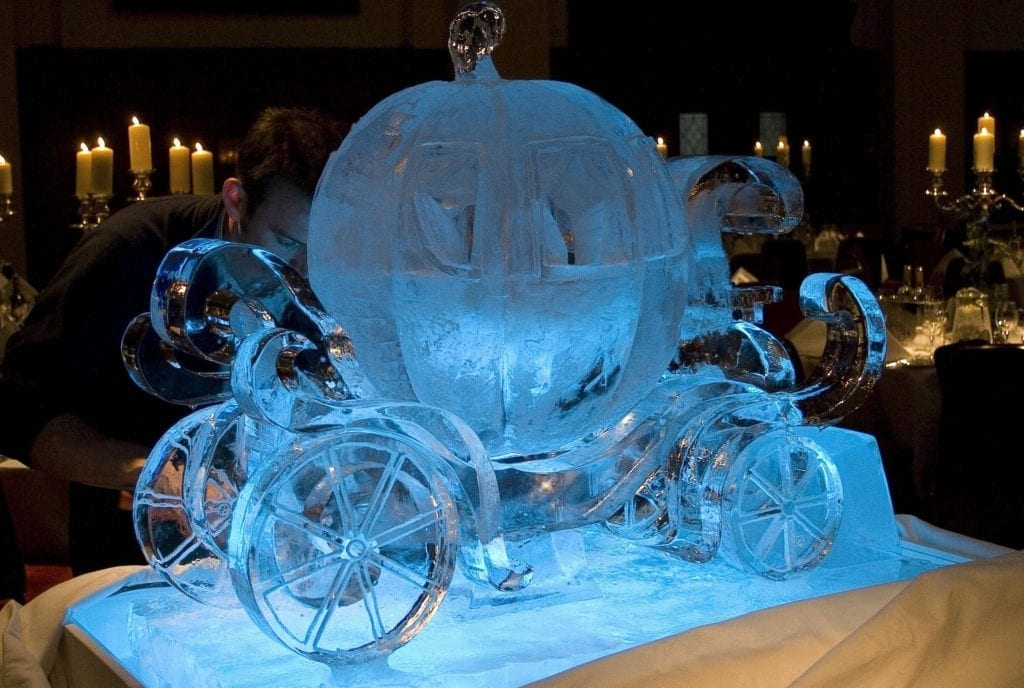 pumpkin carriage ice sculpture for wedding
