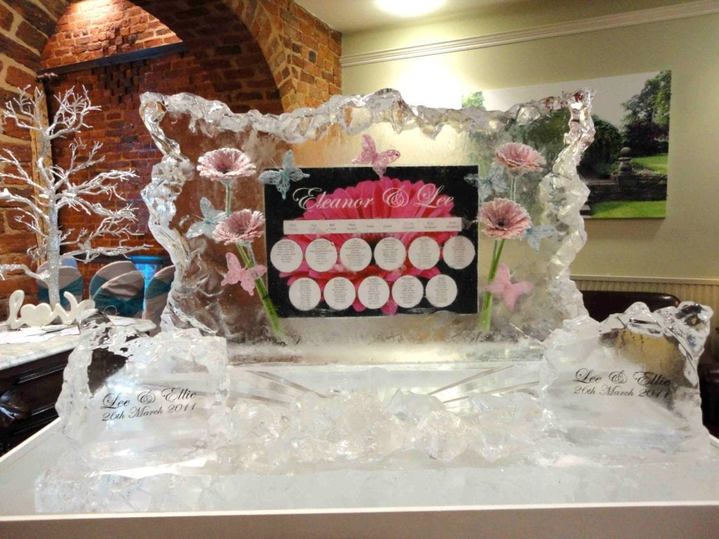 table plan butterfly ice sculpture for wedding