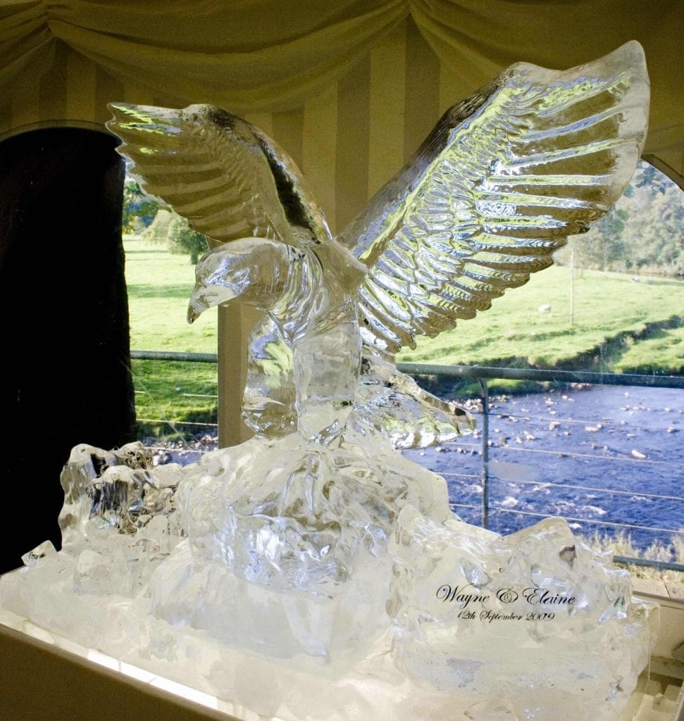 Eagle design ice sculpture for wedding