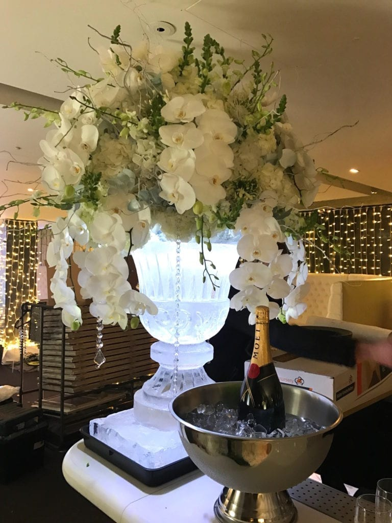 Flower display ice sculpture for wedding