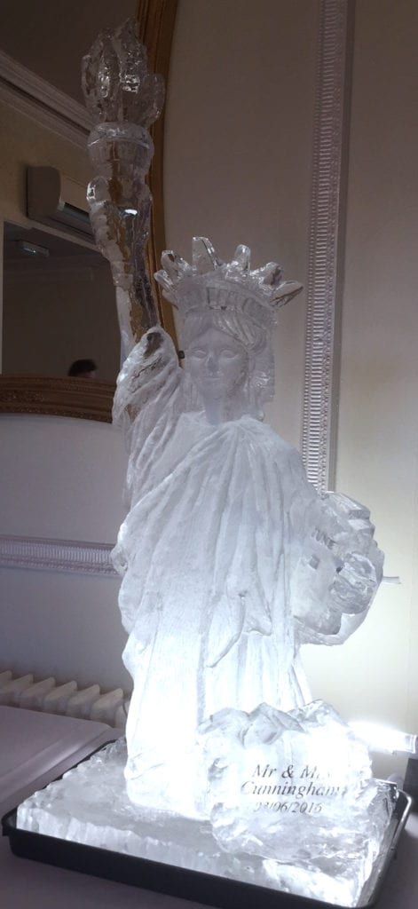 Statue for Liberty ice sculpture with name engraving for wedding