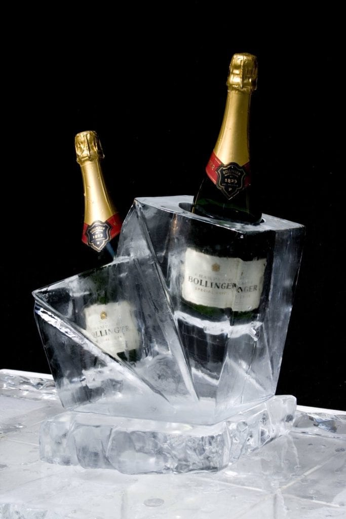 Champagne bottle holder ice sculpture for wedding